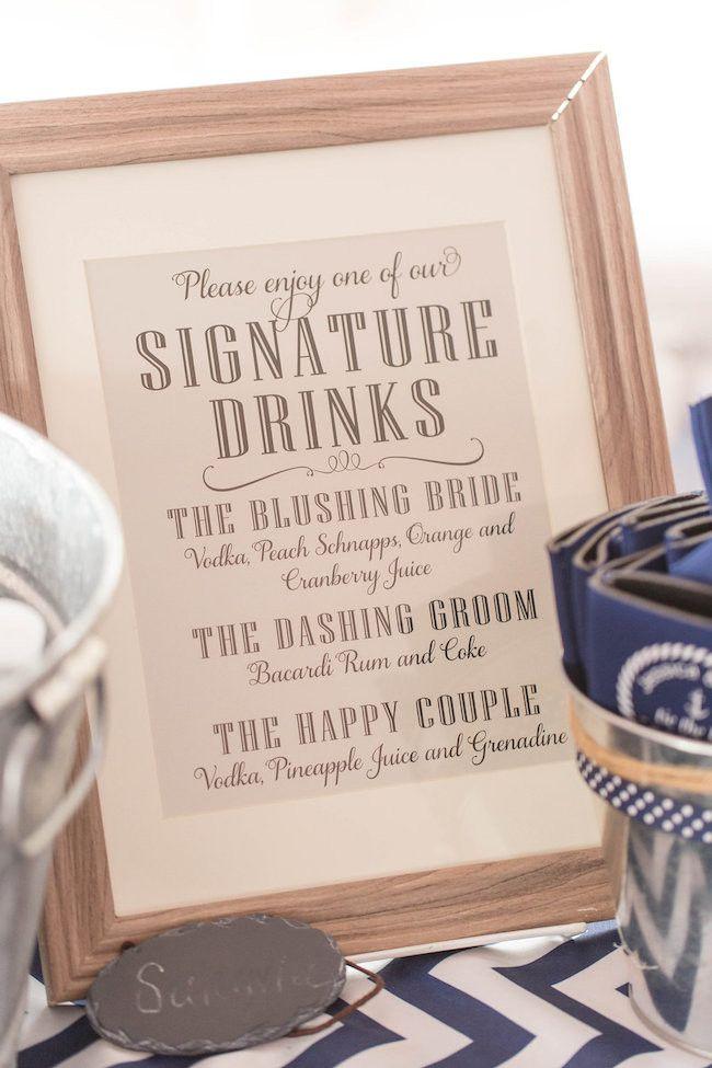 Signature drinks sign - Nautical Wedding - Jami Thompson Photography