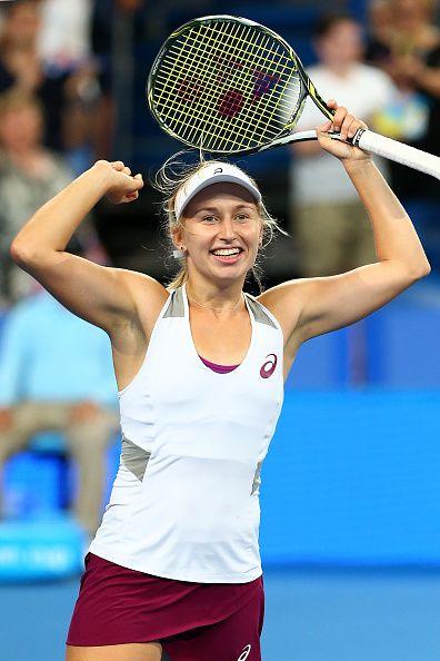 Daria Gavrilova of Australia Green celebrates defeating Elina Svitolina of the Ukraine in the women's singles finals match during day seven of the...