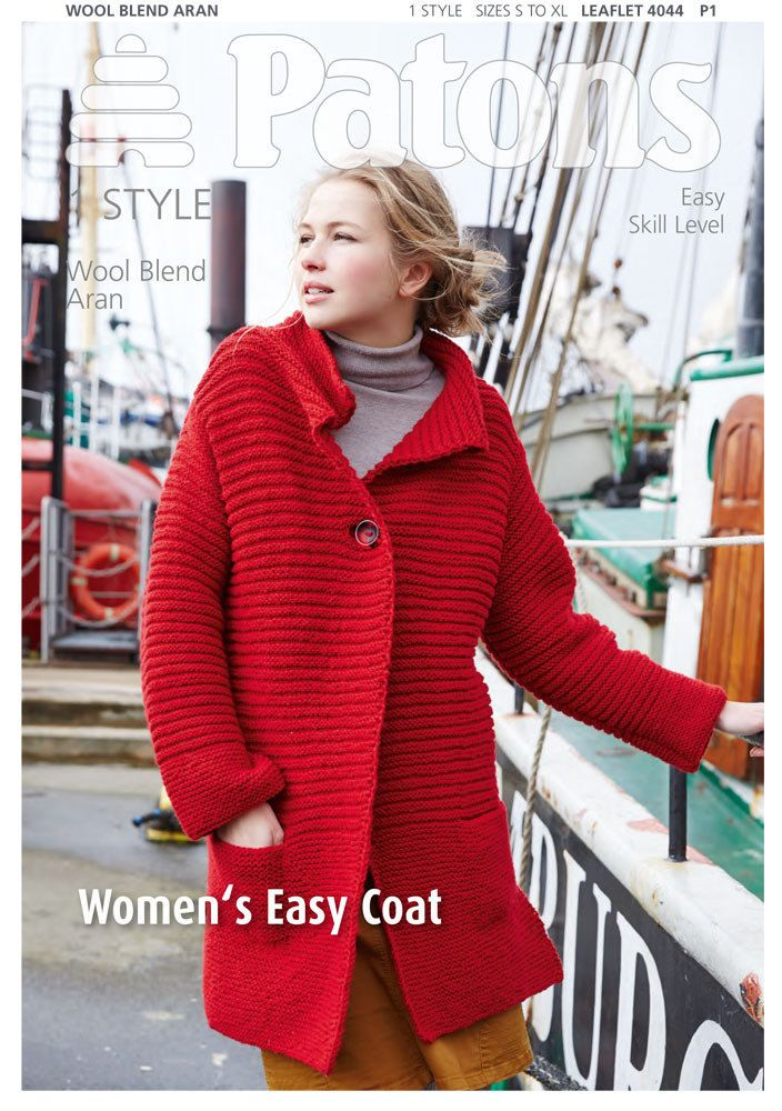Women's Easy Coat in Patons Wool Blend Aran - 4044. Discover more Patterns by Patons at LoveKnitting. The world's largest range of knitting supplies - we stock patterns, yarn, needles and books from all of your favourite brands.