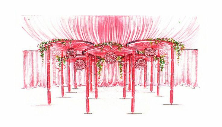 Floral arrangement at the main entrance. Sketch by Yuna Weddings