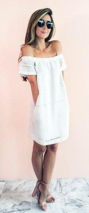 Maillot de bain : #summer #outfits  Little White Off The Shoulder Dress  Nude Sandals