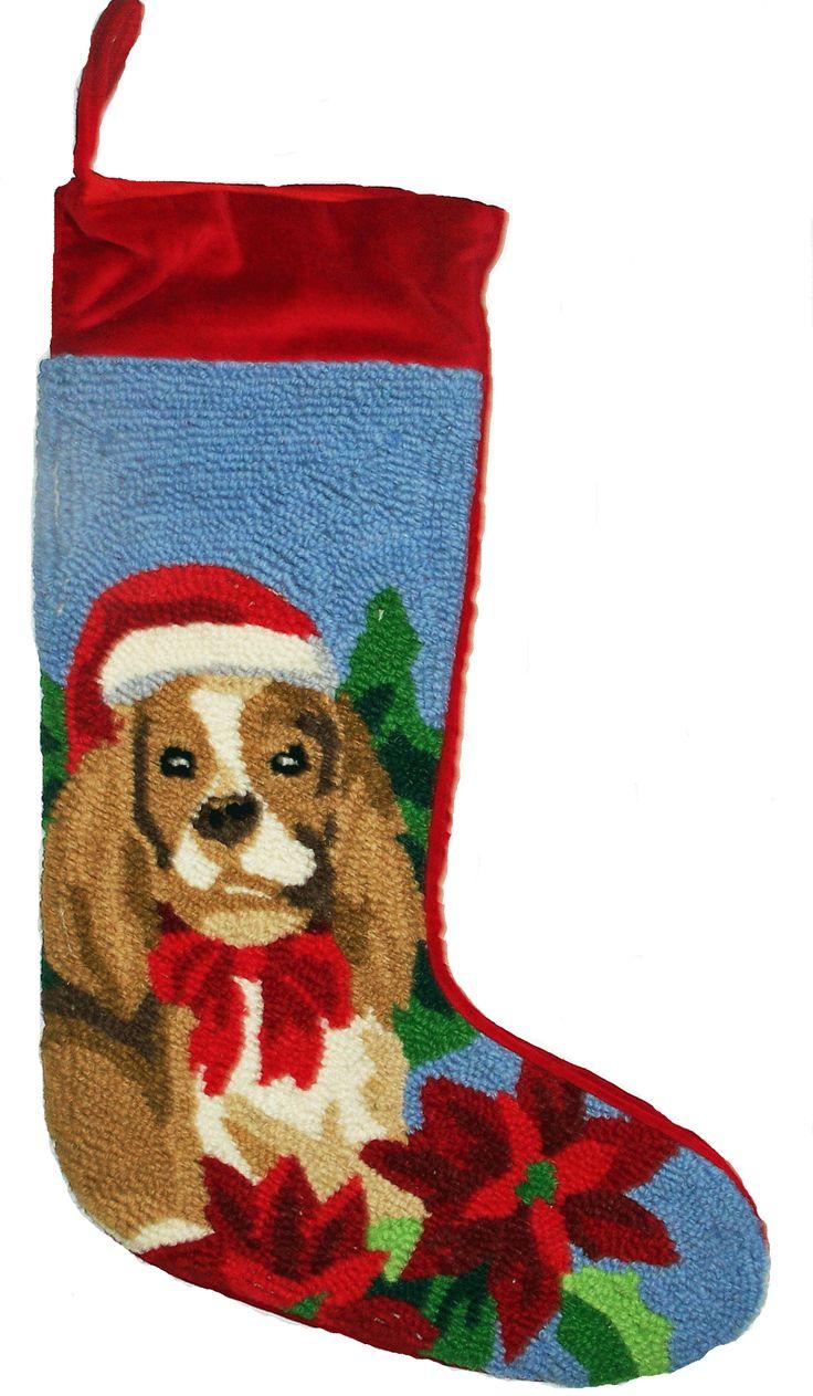 """Red Velvet Cuffed Blenheim Cavalier King Charles Spaniel Dog Hooked Christmas Stocking - 13"""" x 21"""""""