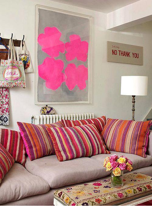 Selina Lake - Living Room  Taken from Bazaar Style, Photography Debi Treloar - http://www.amazon.com/Bazaar-Style-Decorating-Market-Vintage/dp/1845976266/ref=sr_1_1?ie=UTF8=books=1237122679=1-1 - http://www.flickr.com/photos/selinalake/2191650947/in/set-72157603731658473Decor, Living Rooms, Colors, Livingroom, Art, Interiors Design, Hot Pink, Style File, Pillows
