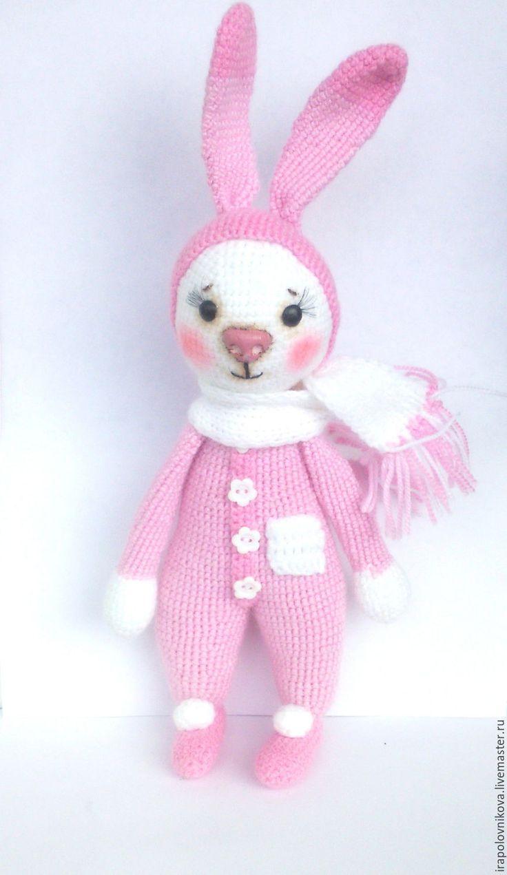 Купить Амигуруми, зая. - розовый, белый, светло-розовый, зефирный, амигуруми, амигуруми крючком