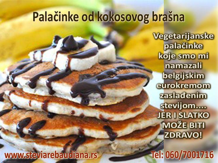 Palačinke od kokosovog brašna Sastojci: -60g kokosovog brašna -stevija po želji -1/4 kašičice praška za pecivo -na vrh kašičice soli -3 jajeta -30g kokosovog ulja -100ml bademovog mleka -par kapi arome vanile -kokosovog ulja za tiganj https://www.facebook.com/173662406064869/photos/a.867823333315436.1073741832.173662406064869/867823466648756/?type=3&theater