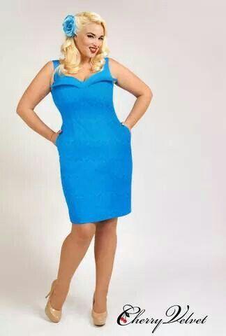 Cherry Velvet Blue Damask Dress - Plus Size - Curvy Fashion - Bold - Unique - Renegade