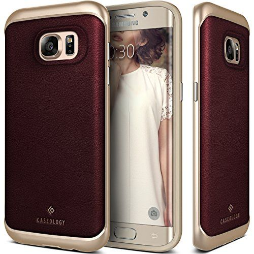 Galaxy S7 Edge Case Caseology [Envoy Series] Genuine Leather Bumper Cover [Leather Cherry Oak] [Leather Bound] for Samsung Galaxy S7 Edge (2016)  Leather Cherry Oak
