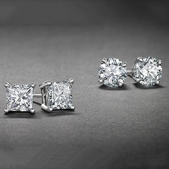 925 Sterling Silver 4mm Princess White Topaz Post Stud Earrings for Women