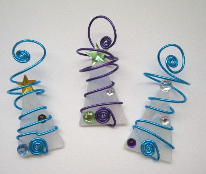 White Snow Tree Trio Glass Ornaments - Wire Wrapped