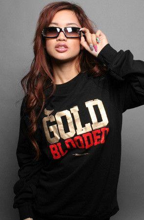 Adapt Advancers — GOLD BLOODED Womens Black/Gold Crewneck Sweatshirt