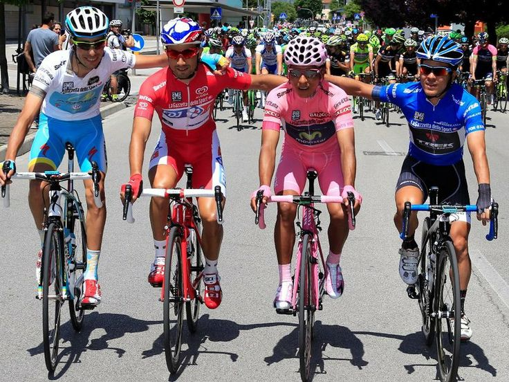 Quintana posed for a photo with the other classification leaders, from left, Fabio Aru, Nacer Bouhanni and Julian Arredondo