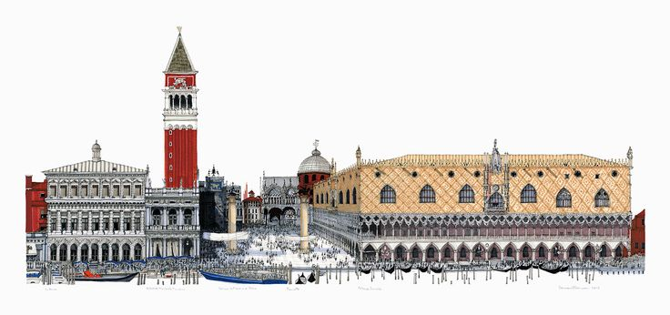 Piazetta and the Doge's Palace, Venice. #Venice #St Mark's Square #Architecture #Art #Drawing #Panorama