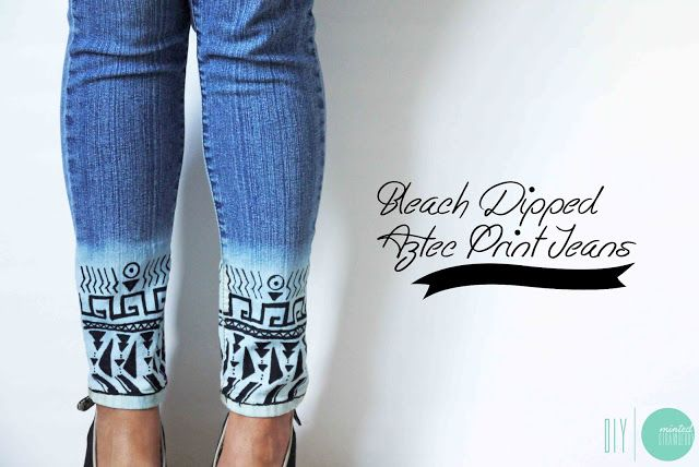 Make your own Bleach-Dipped Aztec Jeans @ mintedstrawberry.blogspot.om