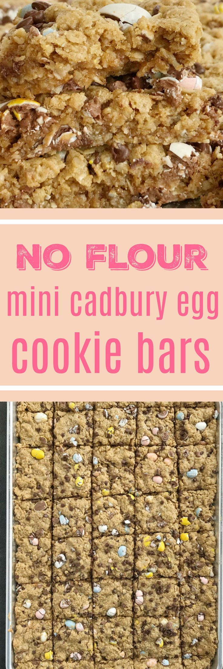 {no flour, gluten-free} Mini Cadbury Egg Cookie Bars | No flour mini Cadbury egg cookie bars are the best way to celebrate Easter! These gluten-free, no flour cookie bars are loaded with oats, peanut butter, chocolate, and an entire bag of mini Cadbury eggs. You must try this easy dessert that's made in a cookie sheet so it's perfect for a crowd or for freezing | #easyrecipes #easter #easterrecipes #easterdessertrecipes #cadburyeggs