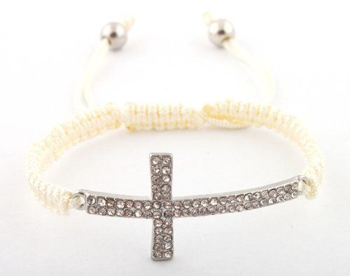 Off White with Silver Lace Style Iced Out Cross Bracelet Macrame Shamballah JOTW. $2.95. Great Quality Jewelry!. 100% Satisfaction Guaranteed!