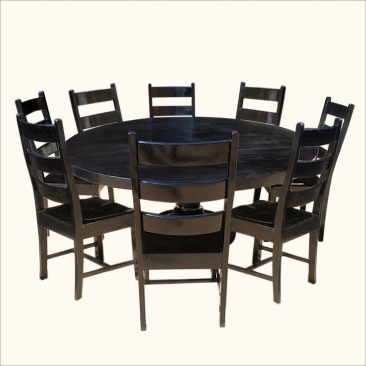 Rustic 8 Person Large Kitchen Dining Table Solid Wood 9 Pc: 25+ Best Ideas About Black Round Dining Table On Pinterest
