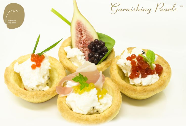 Garnishing Pearls with goats cheese tartlets Garnishing Pearls are available in 25g and 125g sizes, free shipping in Australia  www.nicholsonfinefoods.com.au