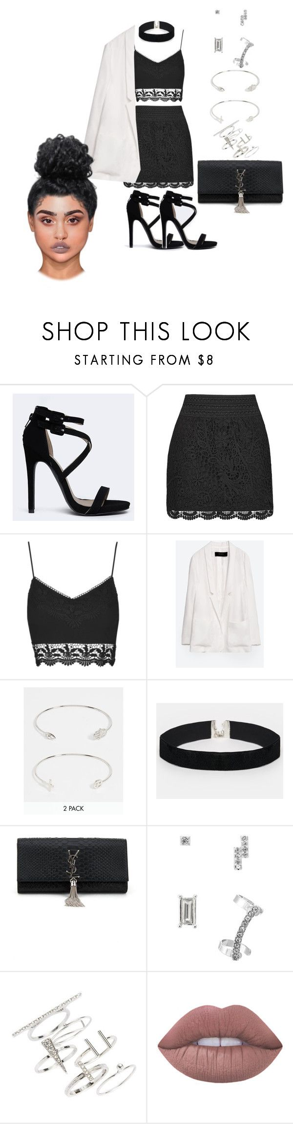"""""""Untitled #2068"""" by mrkr-lawson ❤ liked on Polyvore featuring Qupid, Topshop, Zara, ASOS, Yves Saint Laurent, Lipsy and Lime Crime"""