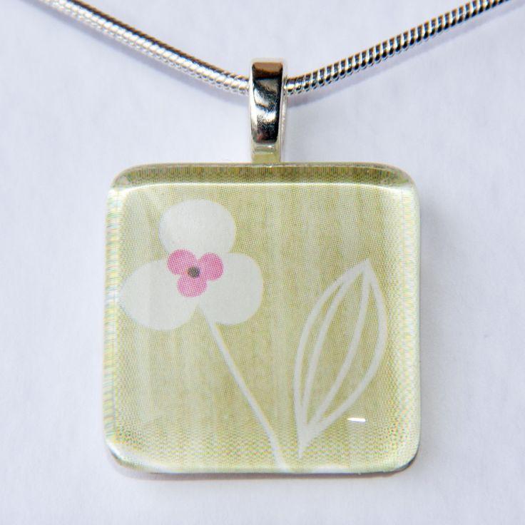 Handmade Glass Tile Green, White & Pink Flower Pendant - pinned by pin4etsy.com