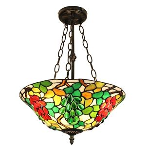16 inch Suspension style rétro jardin européen luminaire Abat-jour en verre couleur à motif des fruits pour salon chambre salle à manger cuisine