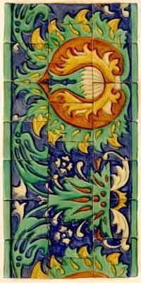 Многоцветный изразцовый рельефный эмалированный фриз 1667 г. на церкви Григория Неокесарийского на Большой Полянке в Москве, строившейся с 1667 по 1679 г. мастером Иваном Кузнечиком.