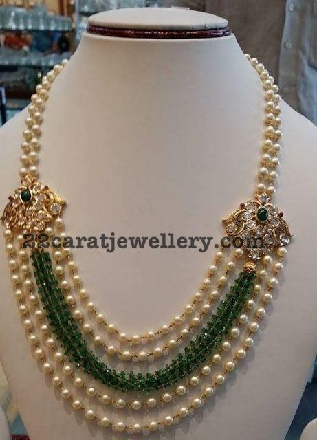 Pearls Beads Set with Diamond Motifs