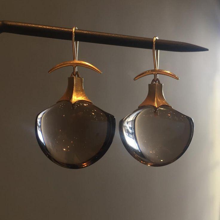 18k and smoky topaz amphora earrings by Gabriella Kiss