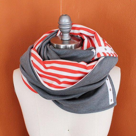 Yoga Infinity foulard, écharpe Snap, corail et blanc rayure et Heather Gray Infinity foulard, écharpe de soins infirmiers on Etsy, 52,74€