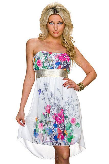 Vestido asimétrico palabra de honor cinturón plateado estampado floral tail hem   Blanco Seda, Rosa Fucsia/Multicolor   Italy Moda