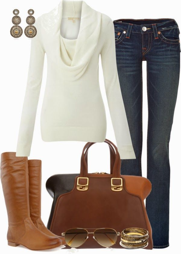 Casual OutfitCasual Outfit, White Sweaters, Style, Casual Fall, Jeans, Fall Fashion, Fall Outfit, Brown Boots, Cowls