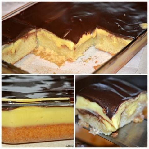 Deep Dish Boston Cream Pie Poke Cake | Hugs and Cookies XOXO