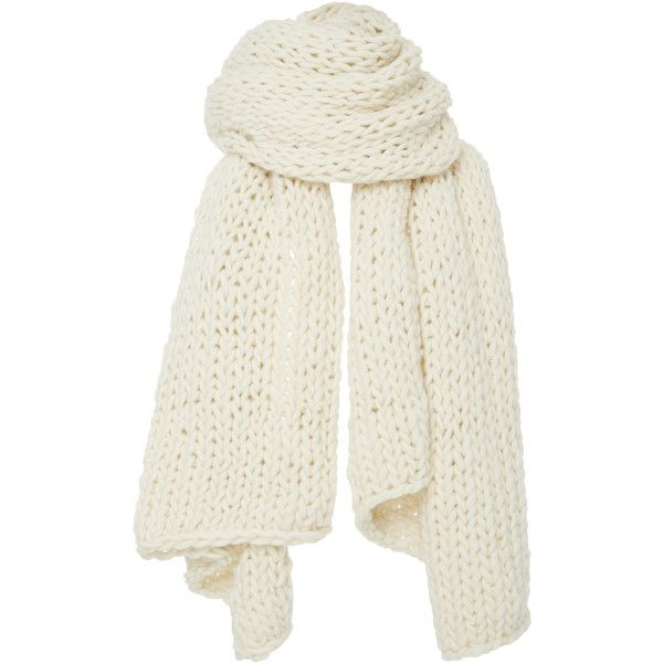 I Love Mr. Mittens     Extra Large Cableknit Scarf ($290) ❤ liked on Polyvore featuring accessories, scarves, white, cable knit scarves, white shawl, chunky scarves, cable knit shawl and white scarves