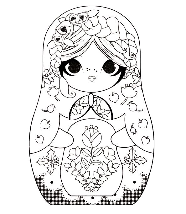 minidoll matriochka russian doll adult coloring pagescoloring