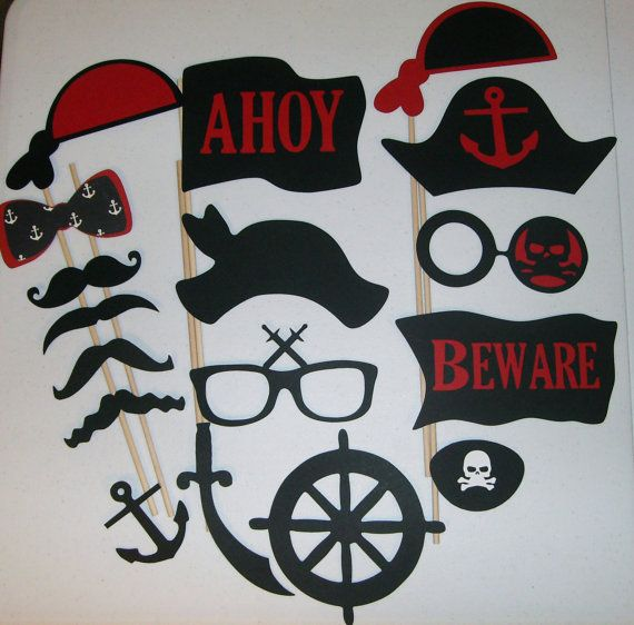 DIY you glue 17 Piece Photo Booth Prop Pirates by CraftyBooth, $16.00
