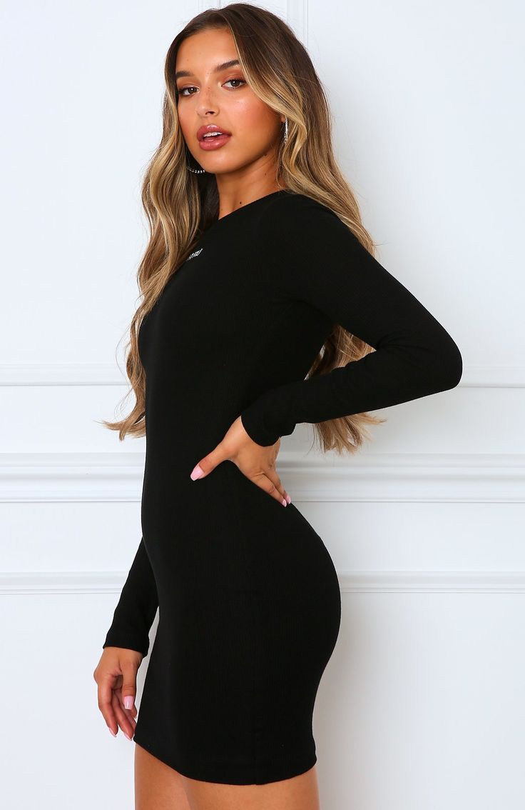 Still The One Mini Dress Black Fall Dress Outfit Tight Long Sleeve Dress Body Con Dress Outfit [ 1134 x 736 Pixel ]