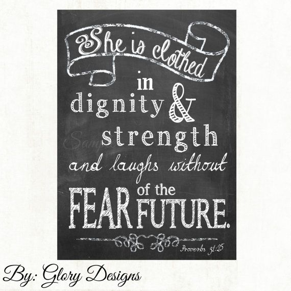 Verse She Is Clothed With Dignity: PRINTABLE, Bible Verse, She Is Clothed In Strength And