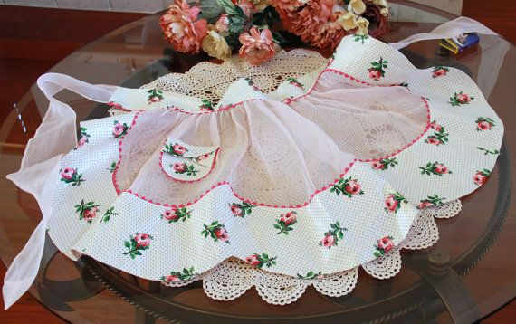 Christmas in was July  Pink Organza Apron with by LadyLyBoutique, $30.00