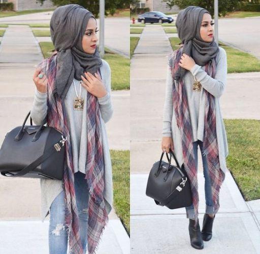 plaid scarf hijab style
