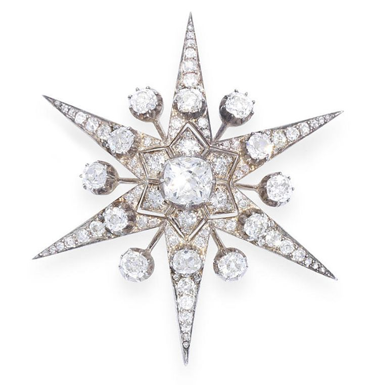 A mid 19th century diamond star brooch/pendant, Collet-set to the centre with a cushion-shaped diamond, within a pierced, five-pointed border of old brilliant and rose-cut diamonds with larger old brilliant-cut diamond highlights, mounted in silver and gold, diamonds approximately 6.00 carats total, detachable brooch fitting