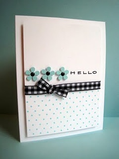 hello card, simple and beautiful with flowers and ribbon.