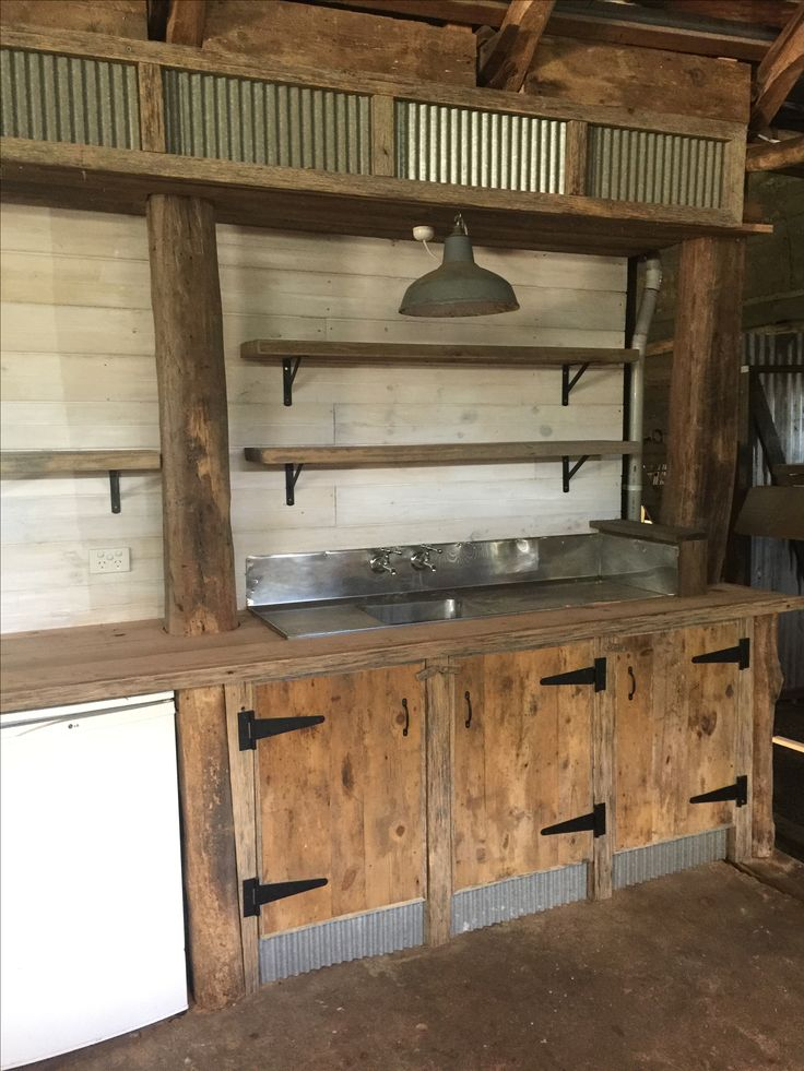 New upcycled kitchenette in the shearing shed - can't wait to start using it!