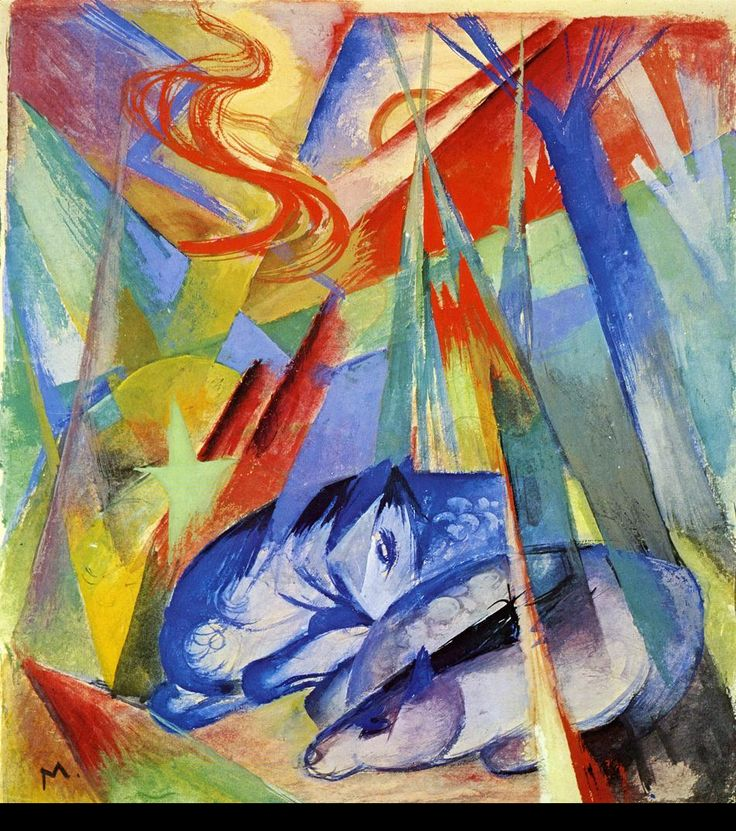 Sleeping Animals by @franz_marc #cubism