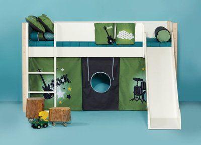 Hochbett Etagenbett mit Rutsche weiß Buche Mixxi | eBay