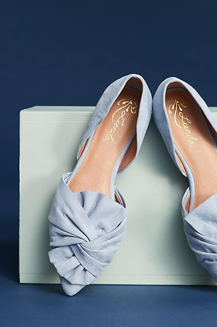 597137842733 Love the sky blue color of these  Anthropologie Knotted Bow  Flats ...