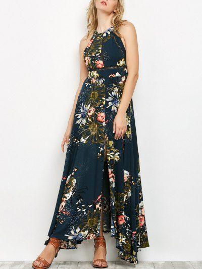 Black and multi peacock print maxi dress