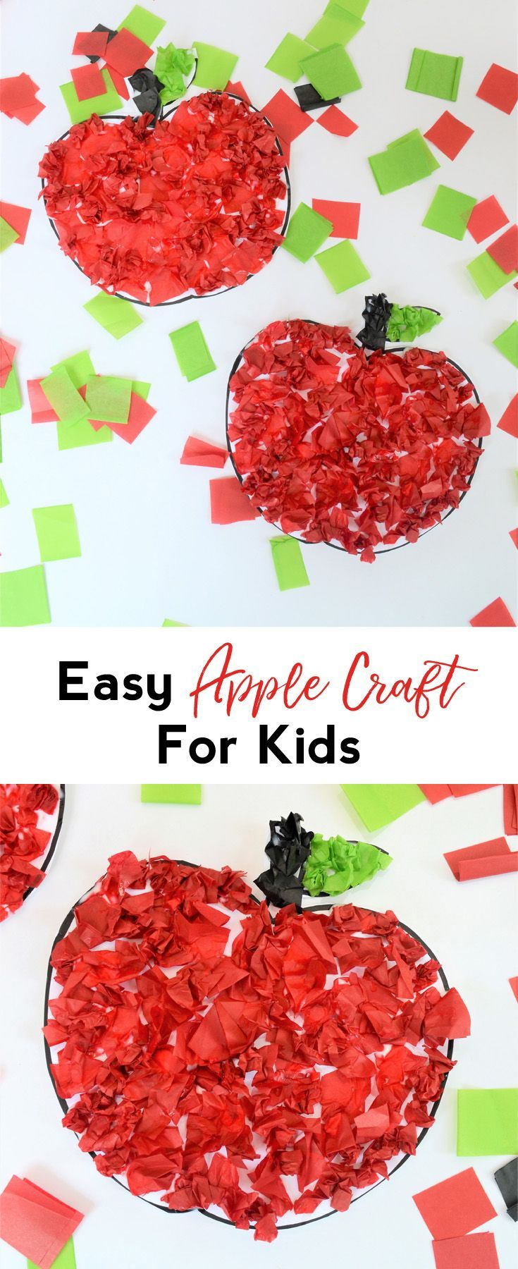 Apple Craft | Kids Craft | Fall Craft Idea | Tissue Paper Craft | Easy Fall Craft DIY #ad