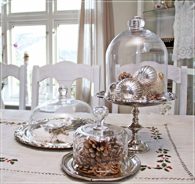 Glass Cloche on Silver trays. How Pretty!