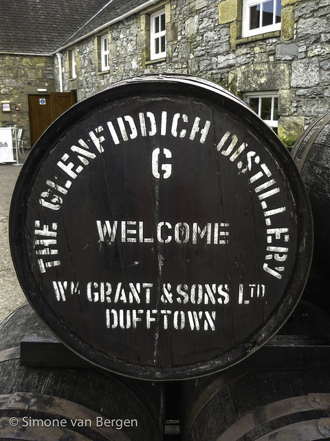 Glenfiddich Whisky Barrel at Distillery in Scotland