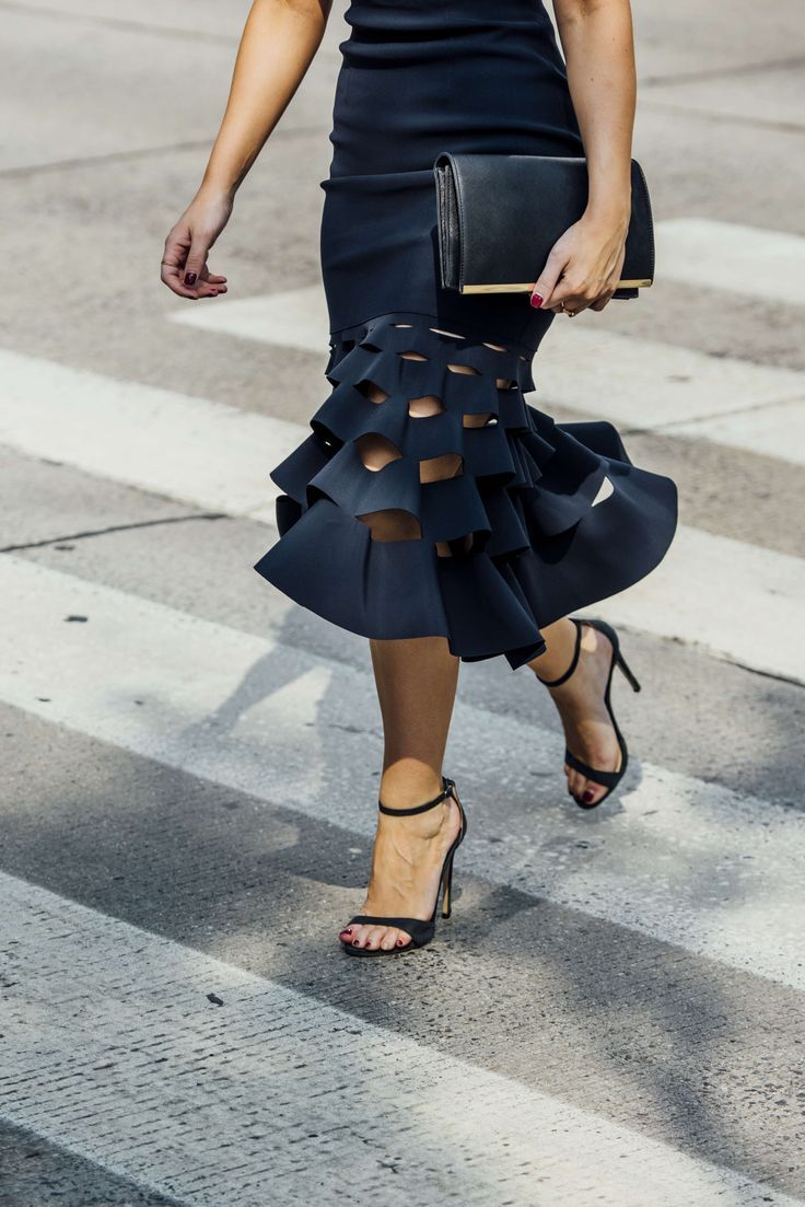 fluted skirt and ankle strap heels. …   Pinteres…
