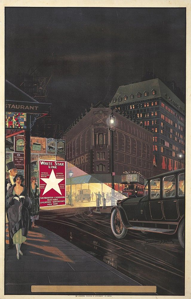 White star line 1918 montague birrell black london streetgraphic artworkvintage travel postersvintage